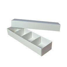 Long 4 Macaroon & Choc Box - Smooth White Paperboard (Base, Insert & Lid)