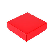 Square 4 Macaroon & Choc Box (2 x 2) - Gloss Red - Base, Lid & removable insert (Minimum Order 100 units) (Macaroon lies flat)