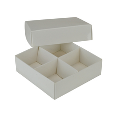 Square 4 Macaroon & Choc Box - Gloss White Paperboard (285gsm) (Base, Lid & removable insert) (Min Order 100 units)