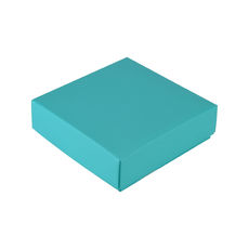 Square 4 Macaroon & Choc Box (2 x 2) - Matt Blue - Base, Lid & removable insert (Minimum Order 100 units) (Macaroon lies flat)