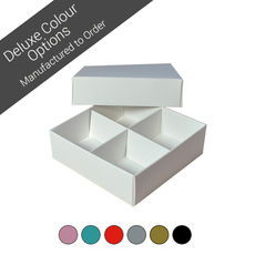 4 Macaroon & Choc Box (2 x 2) with removable insert - Assorted Colours (Minimum Order 100 units) (Macaroon lies flat)