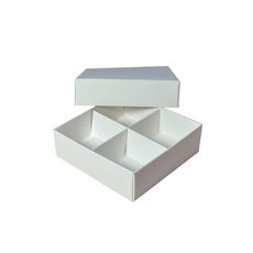 Square 4 Macaroon & Choc Box (2 x 2) - Smooth White with Base, Lid & Removable Insert (Macaroon lies flat)