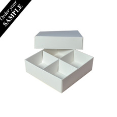 Square SAMPLE - 4 Macaroon & Choc Box (2 x 2) - Smooth White with removable insert (Macaroon lies flat)