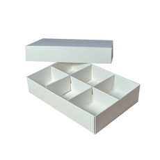 6 Macaroon & Choc Box - Smooth White with Base, Lid & Removable Insert (Macaroon lies flat)