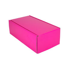 One Piece Postage & Gift Box 15187 - Premium Gloss Hot Pink (White Inside)