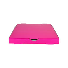Premium Pizza Box 13 Inch One Piece - Premium Gloss Hot Pink (White Inside)