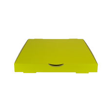Premium Pizza Box 13 Inch One Piece - Premium Gloss Yellow (White Inside)