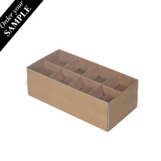 SAMPLE - 16 Pack Chocolate Box with Clear Lid & Insert - Kraft Brown