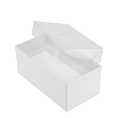 Rectangle 16 with Clear Lid - Smooth White  - Paperboard