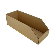 Pick Bin Box 17971 (One Piece Self Locking Cardboard Storage Box) - Kraft Brown (Brown Inside)