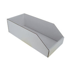 Pick Bin Box 17972 (One Piece Self Locking Cardboard Storage Box) - Kraft White  (White Inside)