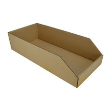 Pick Bin Box 17977  (One Piece Self Locking Cardboard Storage Box) - Kraft Brown (Brown Inside)