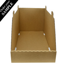 SAMPLE- Stackable Storage & Bin Box - 18031 Kraft Brown (One Piece Self Locking Cardboard Storage Box)