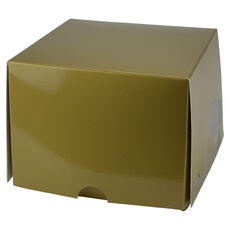 One Donut & Cake Box - Gloss Gold Paperboard (White Inside)