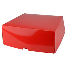 Four Donut & Cake Box - Gloss Red Paperboard