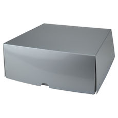 Four Donut & Cake Box - Gloss Silver Paperboard