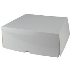 Four Donut & Cake Box - Gloss White Paperboard (White Inside)