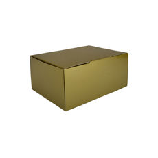 A5 Postal Box 100mm High - Premium Gloss Gold (White Inside)