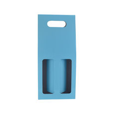 2 Bottle Gable Top Wine Box with Window 19272 - Premium Gloss Baby Blue