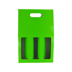 3 Bottle Gable Top Wine Box with Window 19273 - Premium Gloss Lime Green