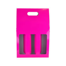 3 Bottle Gable Top Wine Box with Window 19273 - Premium Matt Hot Pink