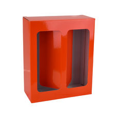 Two Red Wine Glass Gift Box 19286 - Premium Gloss Orange