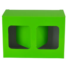 Two Red Wine Short Glass Gift Box 19287 - Premium Gloss Lime Green