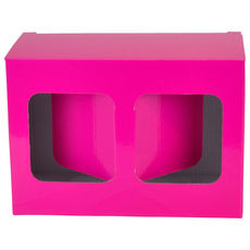 Two Red Wine Short Glass Gift Box 19287 - Premium Matt Hot Pink