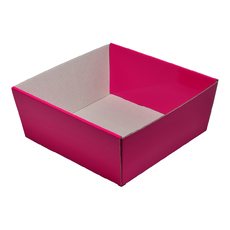 80mm High Small Square Catering Tray - Gloss Hot Pink with optional clear lid (Lid purchased separately)