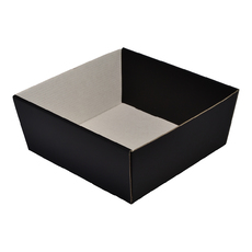 80mm High Small Square Catering Tray - Matt Black with optional clear lid (Lid purchased separately)