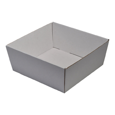 80mm High Large Square Catering Tray - Kraft White with optional clear lid (Lid purchased separately)