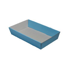 50mm High Small Rectangle Catering Tray - Gloss Baby Blue with optional clear lid (Lid purchased separately)