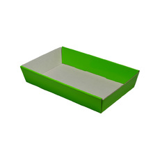 50mm High Small Rectangle Catering Tray - Gloss Green with optional clear lid (Lid purchased separately)