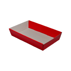 50mm High Small Rectangle Catering Tray - Gloss Red with optional clear lid (Lid purchased separately)