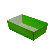 80mm High Small Rectangle Catering Tray - Gloss Green with optional clear lid (Lid purchased separately)