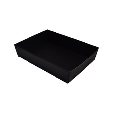 80mm High Medium Rectangle Catering Tray - Kraft Black with optional clear lid (Lid purchased separately)