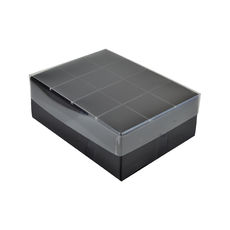 24 Pack Chocolate Box with Clear Lid - Gloss Black Paperboard (Min Order 100 units) (Base, Inserts & Clear Lid)