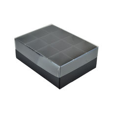 24 Pack Chocolate Box with Clear Lid - Matt Black Paperboard (Min Order 100 units) (Base, Inserts & Clear Lid)