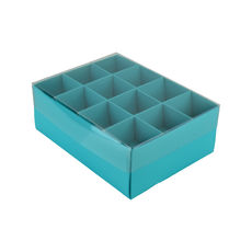 24 Pack Chocolate Box Base & Clear Lid - Matt Blue (Minimum Order 100 units)