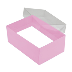 Rectangle 24 with Clear Lid - Matt Pink (Minimum Order 100 units) (White Inside)
