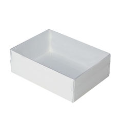 Rectangle 24 with Clear Lid- Smooth White  - Paperboard