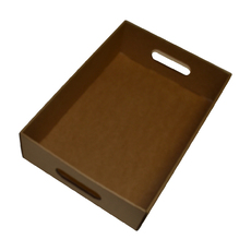Large Gourmet Hamper Display Tray with Hand Holds 25164 - Kraft Brown (Sleeves Sold Separately)