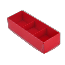 3 Pack Chocolate Box Base & Clear Lid - Gloss Red (Minimum Order 100 units) - Paperboard