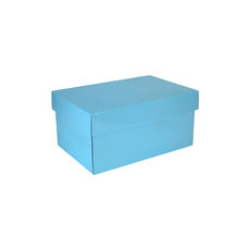 Corrugated Shoe Box 150 Base & Lid - Premium Gloss Baby Blue (White Inside)
