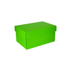 Corrugated Shoe Box 150 Base & Lid - Premium Gloss Lime Green (White Inside)