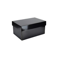 Two Piece Corrugated Shoe Box 150 Base & Lid - Premium Gloss Black (White Inside)