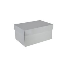 Two Piece Corrugated Shoe Box 150 Base & Lid - Premium Gloss White (White Inside)