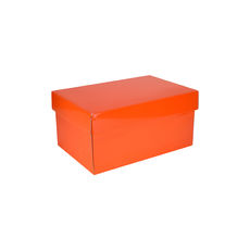 Corrugated Shoe Box 150 Base & Lid - Premium Gloss Orange (White Inside)