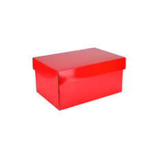 Corrugated Shoe Box 150 Base & Lid - Premium Gloss Red (White Inside)
