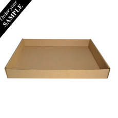 SAMPLE - Cardboard Self Locking Food Tray Large (Brown Inside) Made from a Sturdy Corrugated Cardboard